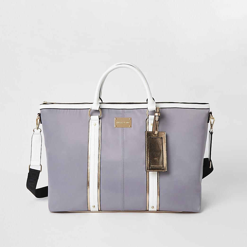 Grey panelled weekend bag