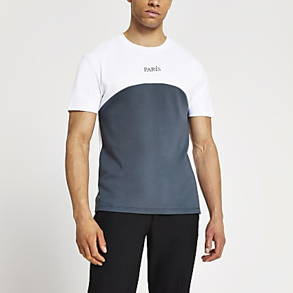 Grey Paris curved block slim fit t-shirt