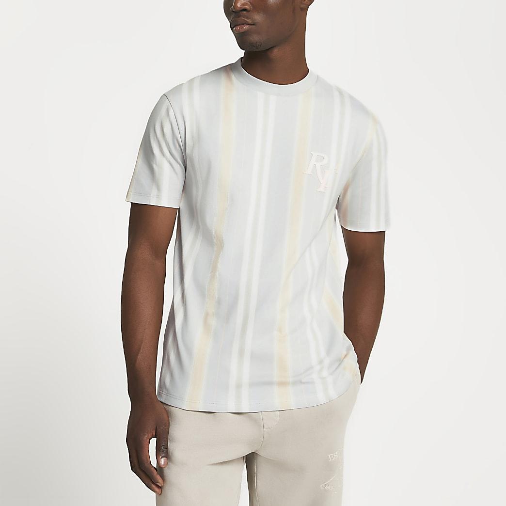 Grey pastel stripe slim fit t-shirt