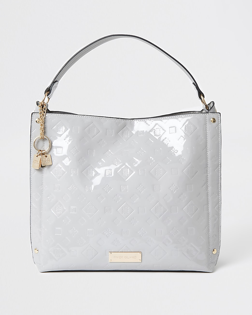 Grey patent embossed slouch bag