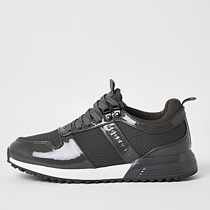Grey patent MCMX runner trainers