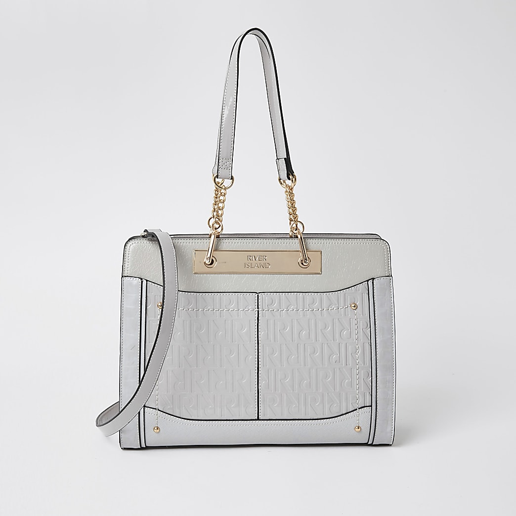Grey patent RI embossed chain tote bag