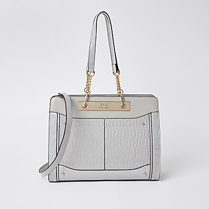 Grey patent RI embossed chain tote handbag