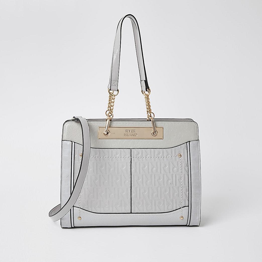 Grey patent RI embossed chain tote handbag