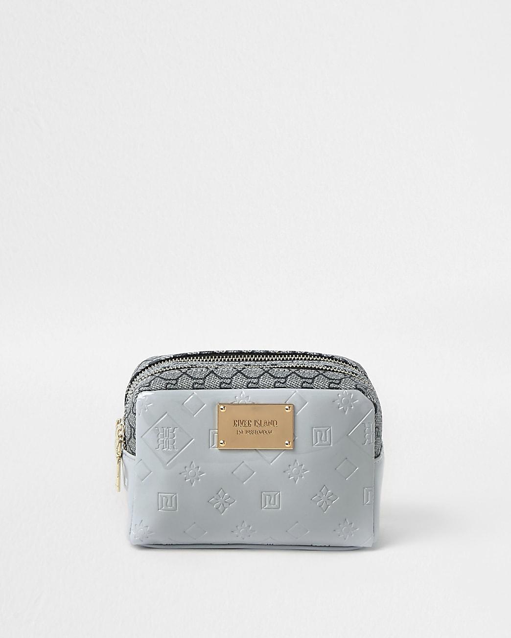 Grey patent RI embossed makeup bag