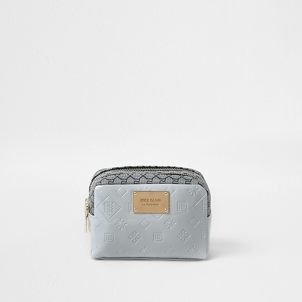 Grey patent RI embossed makeup bag