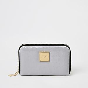 Grijze lakleren mini-portemonnee met rits rondom en RI-logo in reliëf