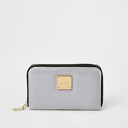 Grey patent RI embossed mini zip around