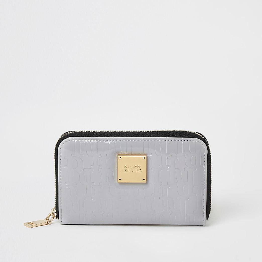 Mini portefeuille zippégris verni avec monogramme RI en relief