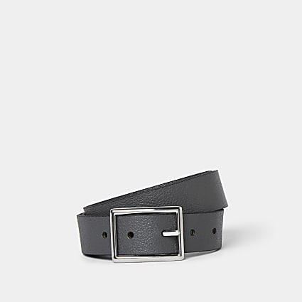 Grey pebbled leather belt