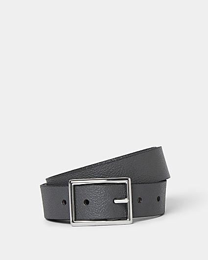 Grey pebbled leather belt