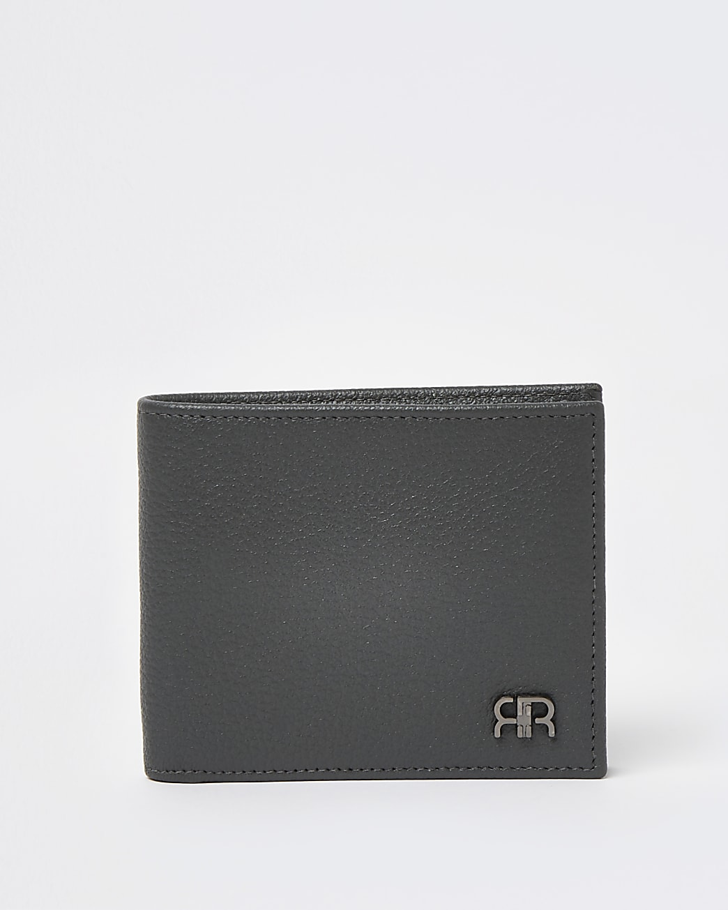 Grey pebbled RR bifold wallet