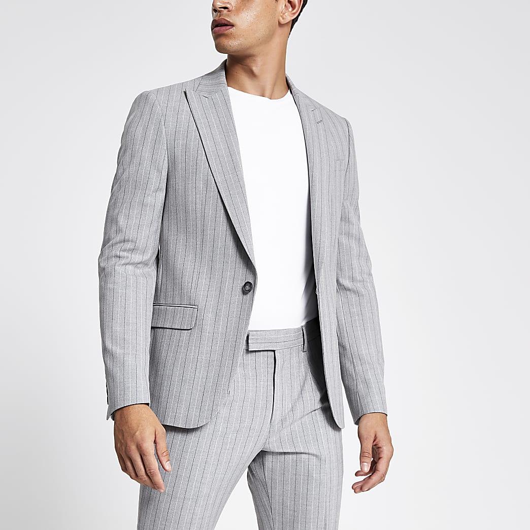 Grey pinstripe skinny suit jacket