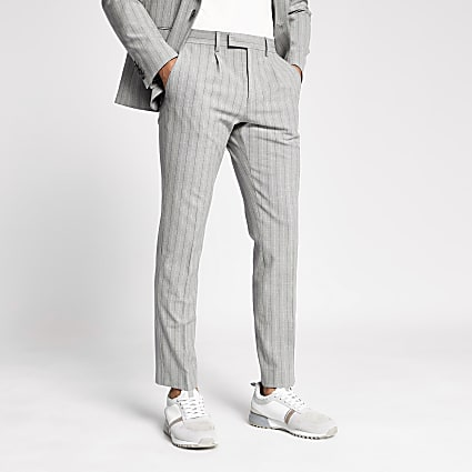 Grey pinstripe skinny suit trousers