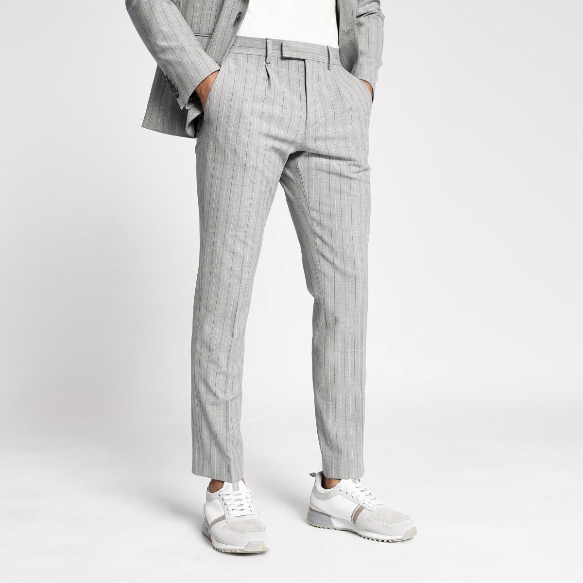 Grey pinstripe skinny suit trousers