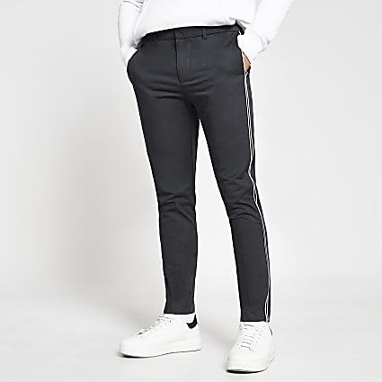 Grey piped skinny fit chinos