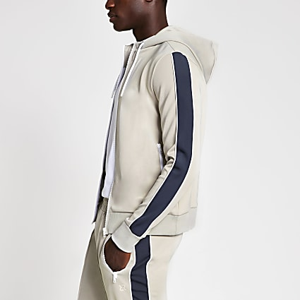 Grey piped zip through slim fit hoodie