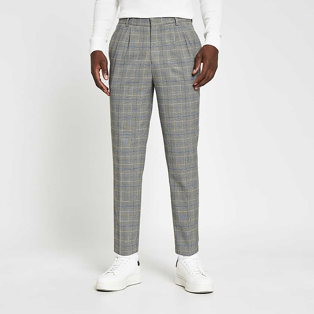 Grey pleated check print tapered trousers