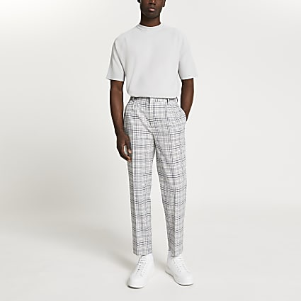 Grey pleated check trousers