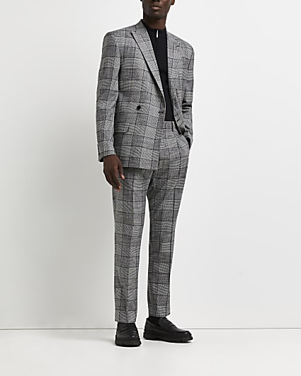 Grey pleated slim fit check print trousers