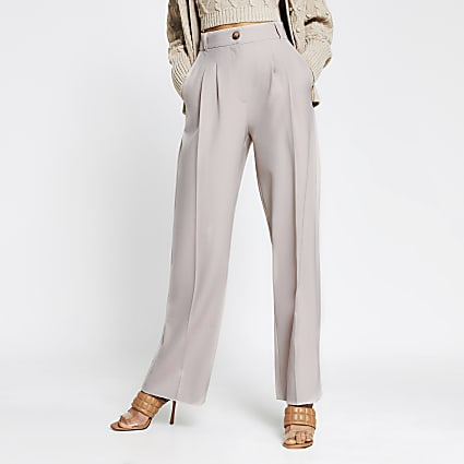 Grey pleated slouch wide leg trouser
