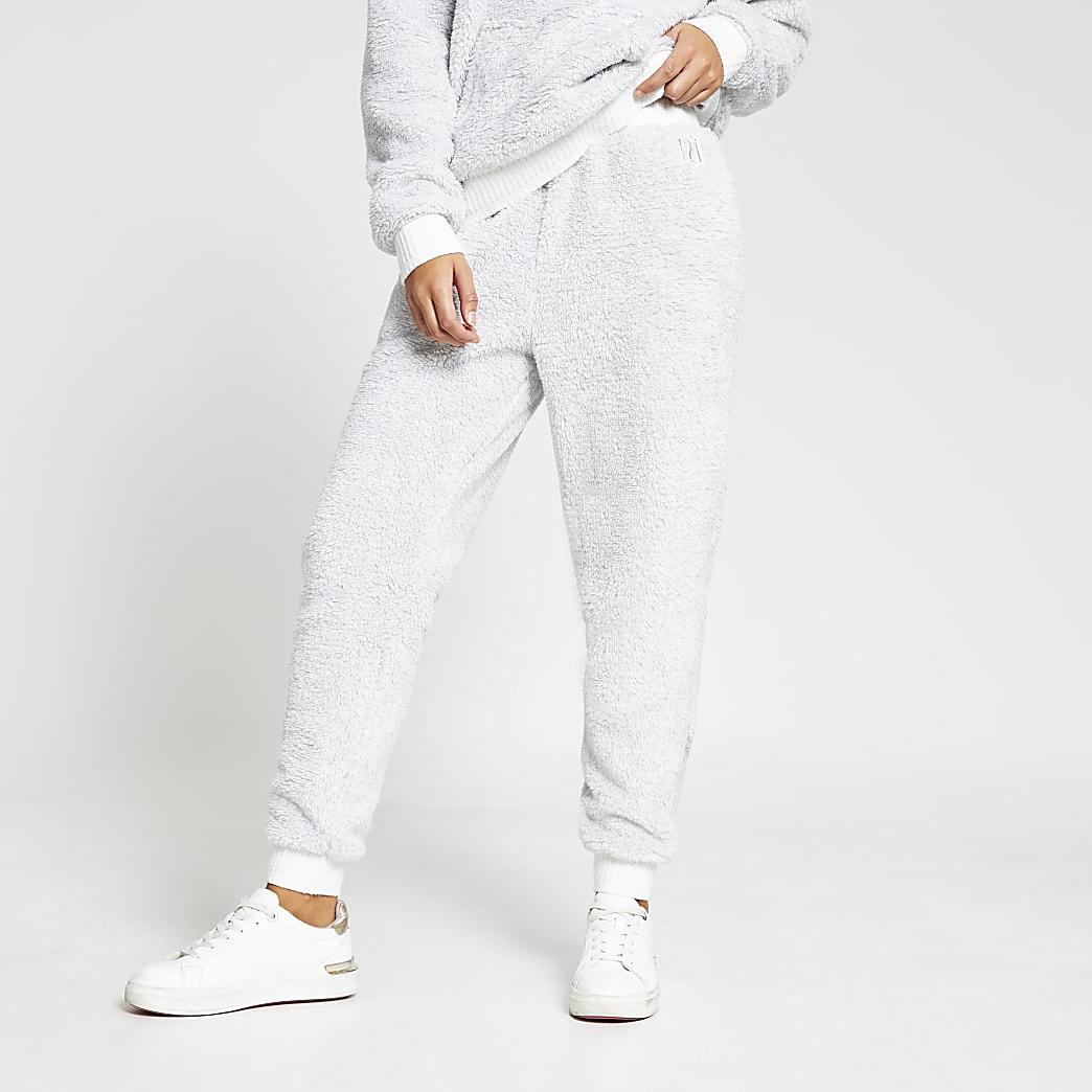 Grey plush cuffed joggers