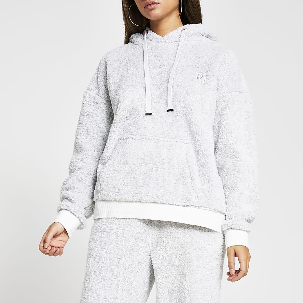 Grey plush long sleeve hoodie