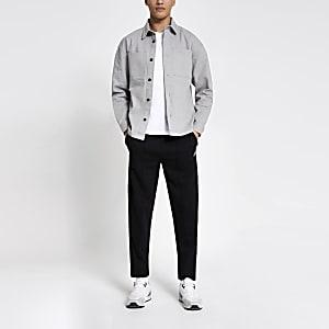 Grijs box-fit overshirt met zakken