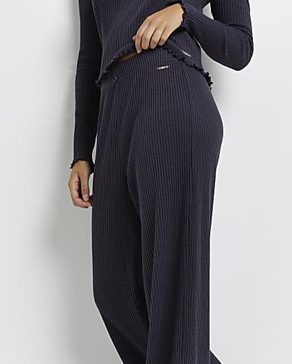 Grey pointelle knit pyjama trousers
