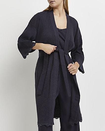 Grey pointelle knit robe