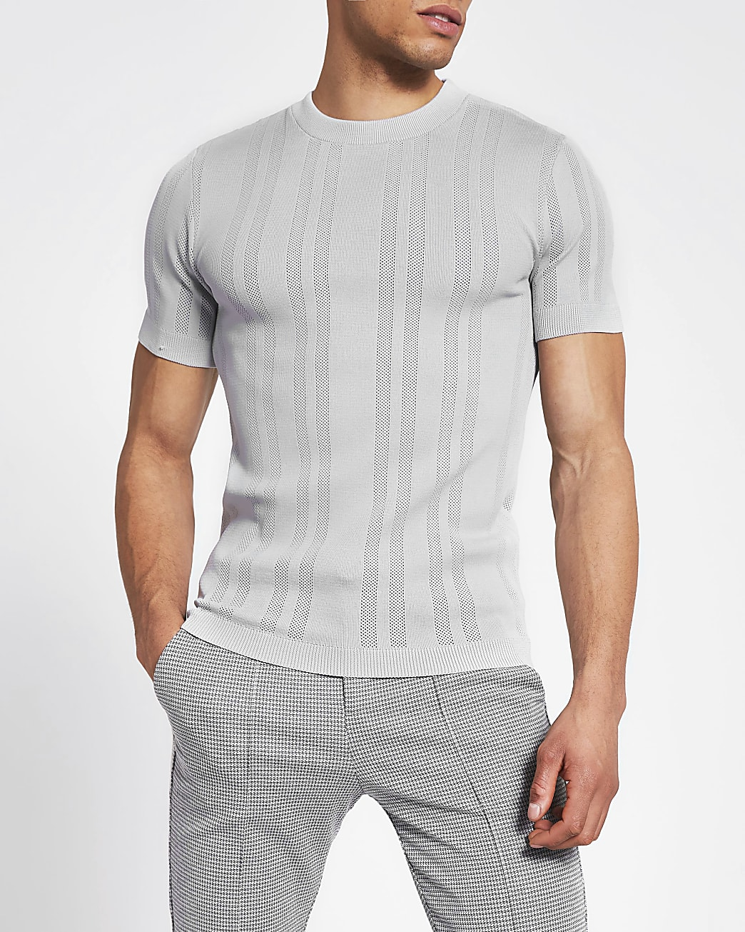 Grey pointelle knitted muscle fit t-shirt