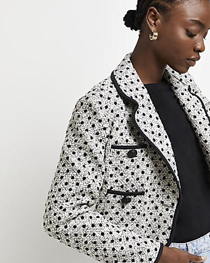 Grey polka dot boucle cropped blazer