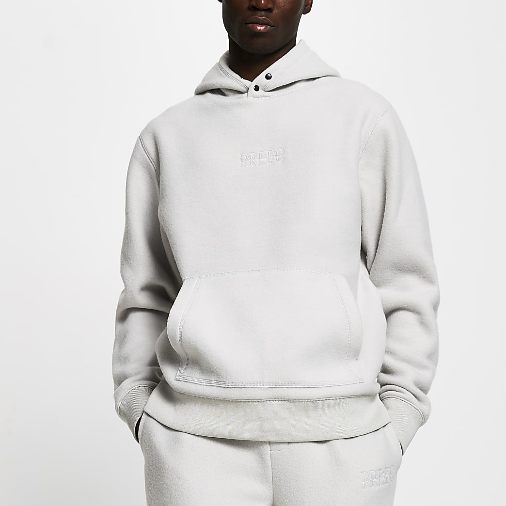 Grey popper slim fit fleece hoodie