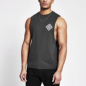 Grey printed muscle fit tank top