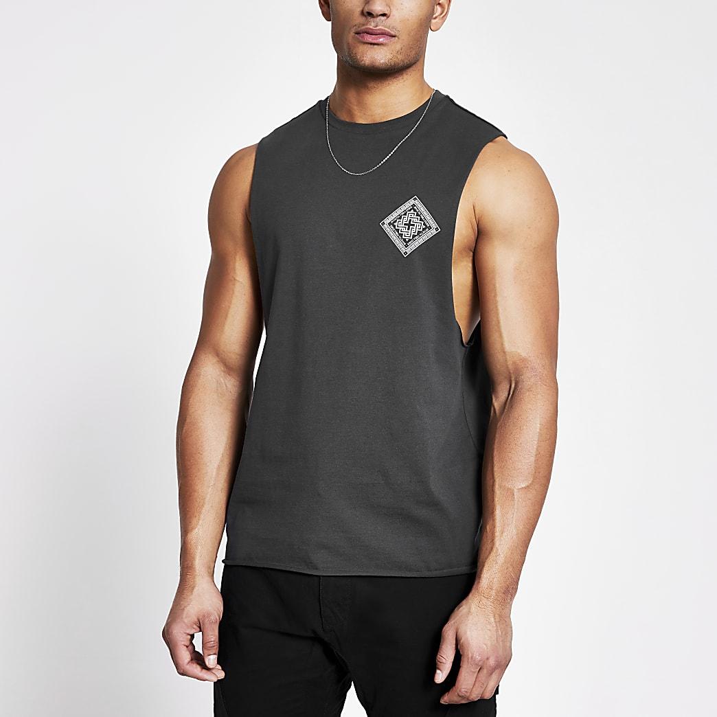 Grijze muscle fit tanktop met print