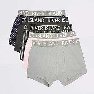 Set van 5 grijze onderbroeken met RI-print