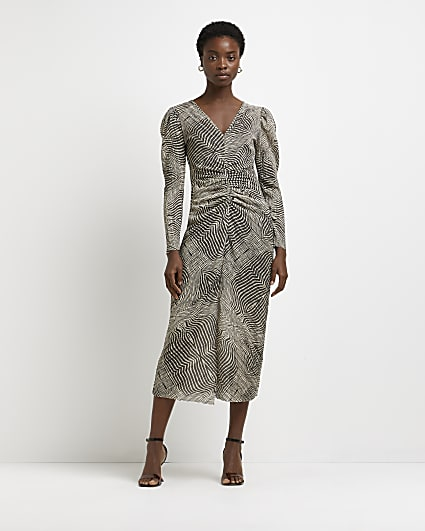 Grey printed ruched midi dress