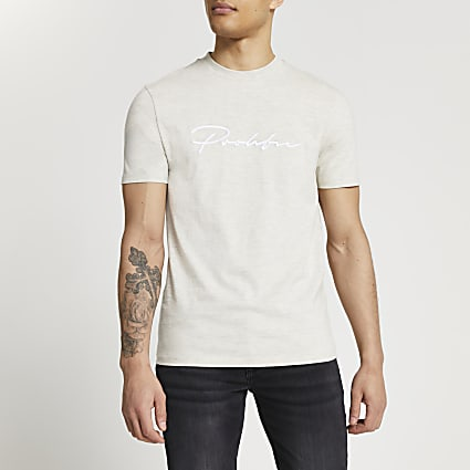 Grey Prolific short sleeve slim fit t-shirt