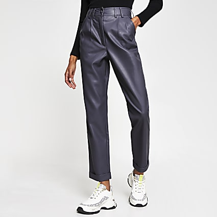 Grey PU high waist peg trousers