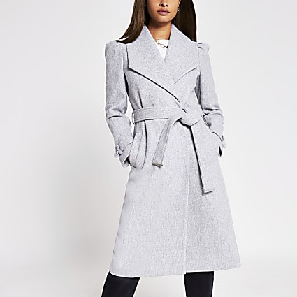 Grey puff sleeve belted robe coat