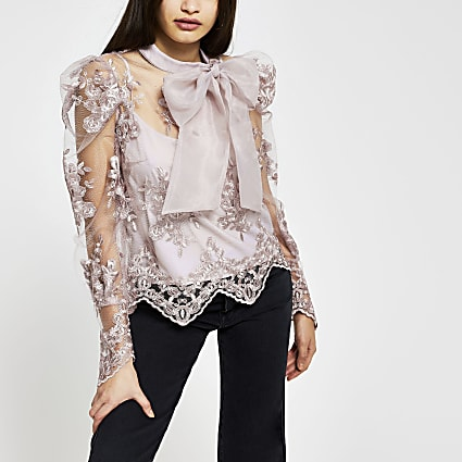 Grey puff sleeve organza lace blouse