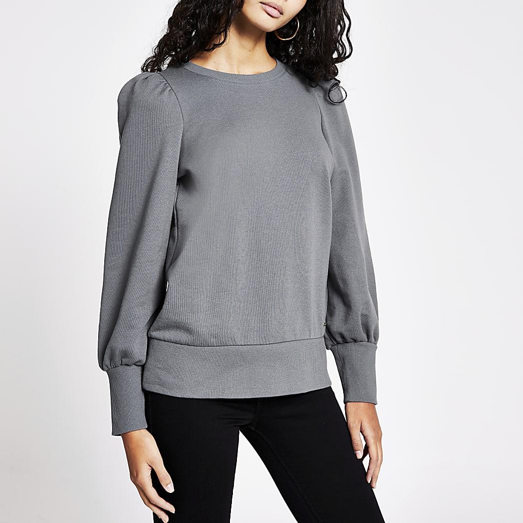 Grijze sweater met pofmouwen