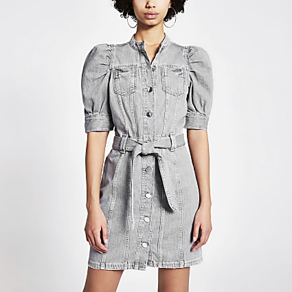 Grey puff sleeve tie belted mini denim dress