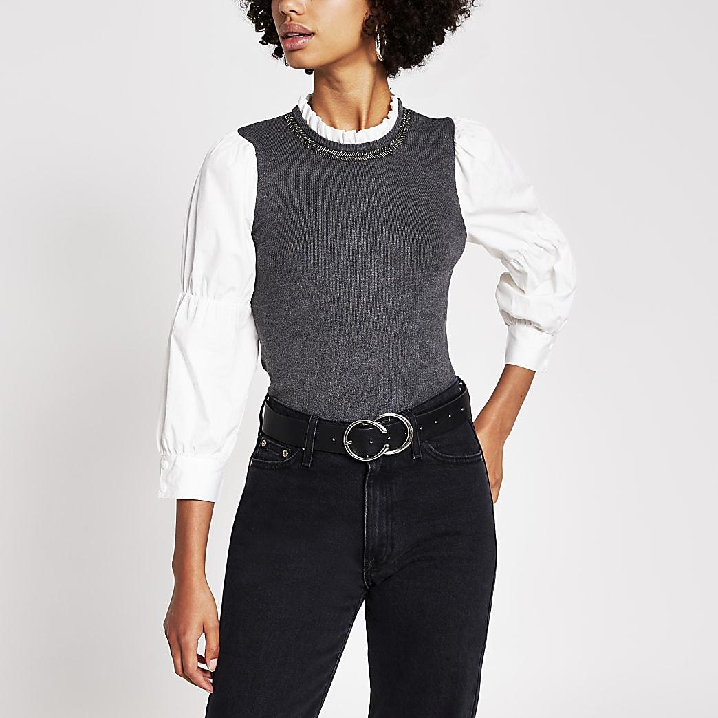 Grey puff sleeve top
