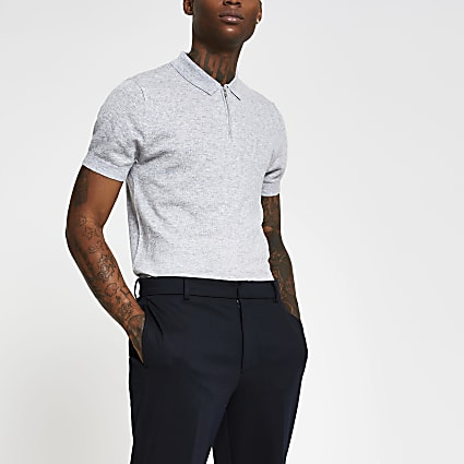 Grey quarter zip cashmere blend polo shirt