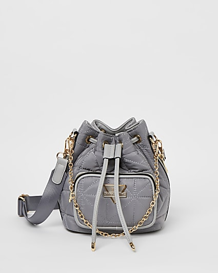 Grey quilted bucket bag