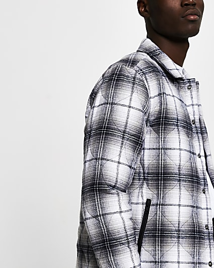 Grey quilted check shacket
