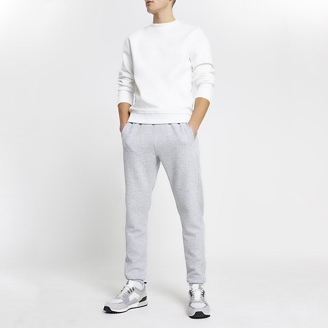 Grey quilted slim fit joggers