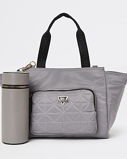 Grey quilted tote bag and bottle carrier