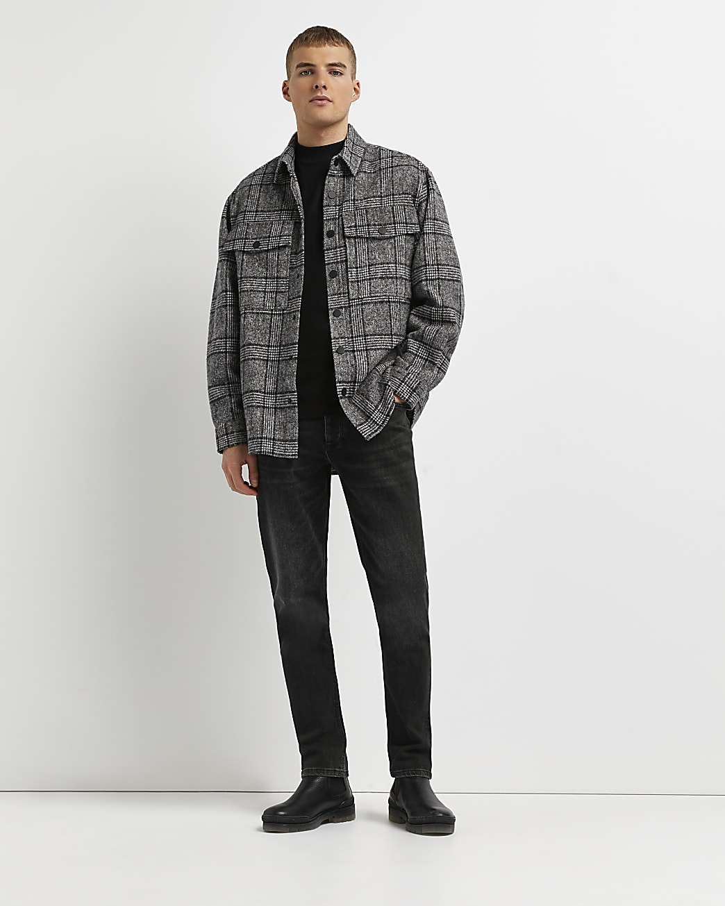 Grey regular fit check shacket